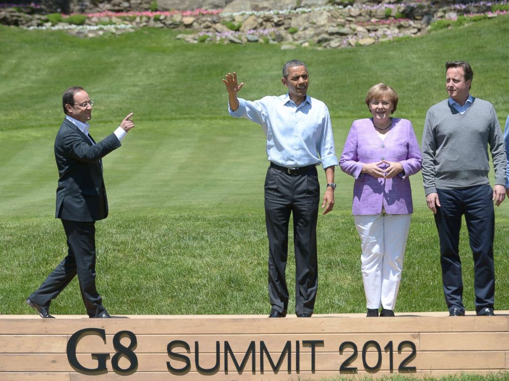 PHOTO: French President Francois Hollande, President Barack Obama, German Chancellor Angela Merkel, and British Prime Minister David Cameron arrive to pose for the family photo during the G8 Leaders Summit May 19, 2012 at Camp David in Maryland.