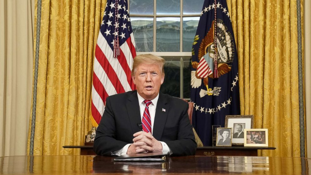 President Donald Trump delivera televised address to the nation from his desk in the Oval Office about immigration and the southern U.S. border at the White House in Washington, Jan. 8, 2019.