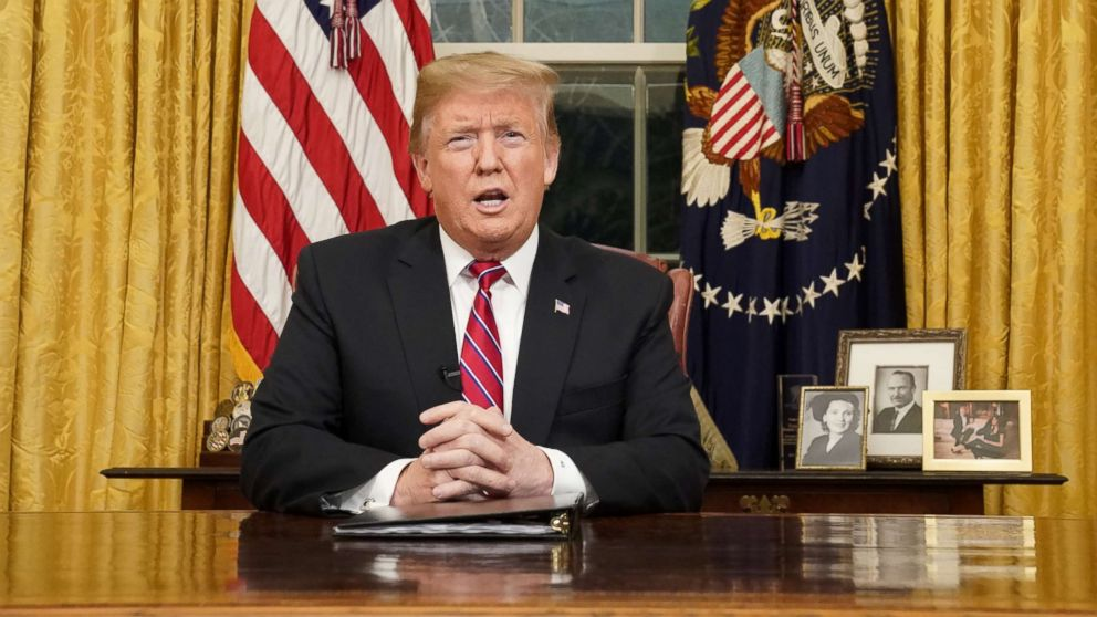 President Donald Trump delivers a televised address to the nation from his desk in the Oval Office about immigration and the southern U.S. border at the White House in Washington, Jan. 8, 2019.