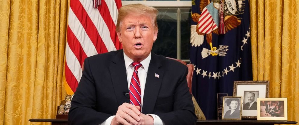 PHOTO: President Donald Trump speaks from the Oval Office of the White House as he gives a prime-time address about border security, Jan. 8, 2018, in Washington.