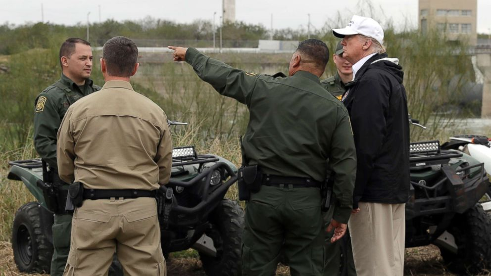 President Donald Trump tours the U.S. border with Mexico at the Rio Grande on the southern border, Jan. 10, 2019, in McAllen, Texas.