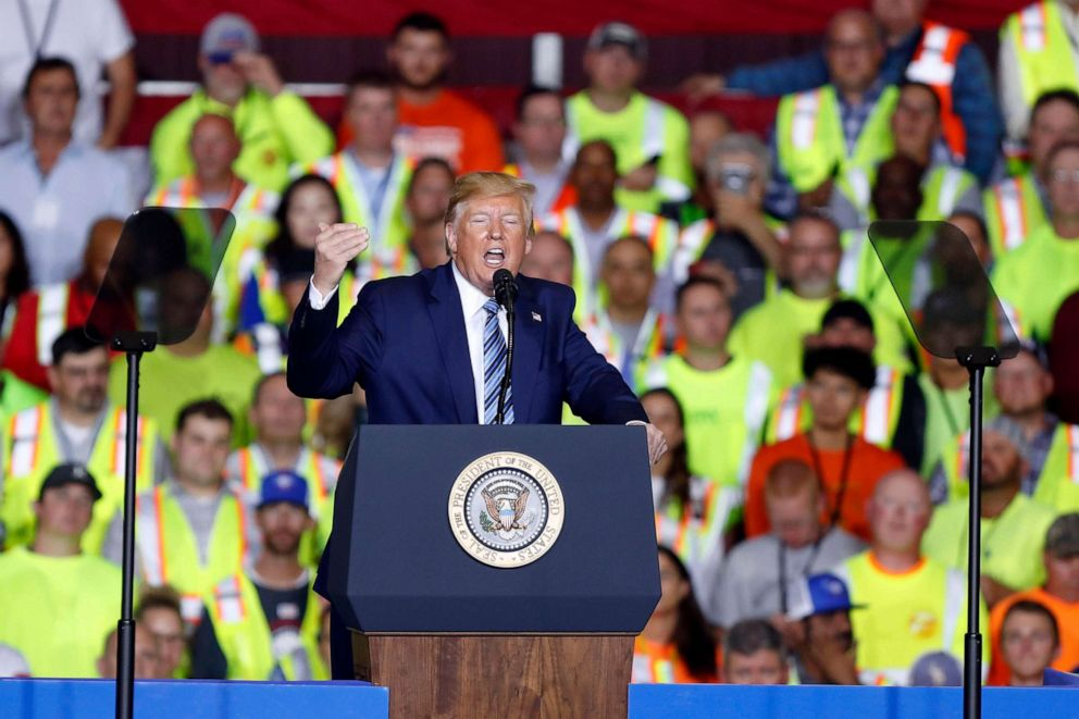 PHOTO: President Donald Trump speaks before taking a tour of the Pennsylvania Shell ethylene cracker plant, Aug. 13, 2019, in Monaca, Pa.