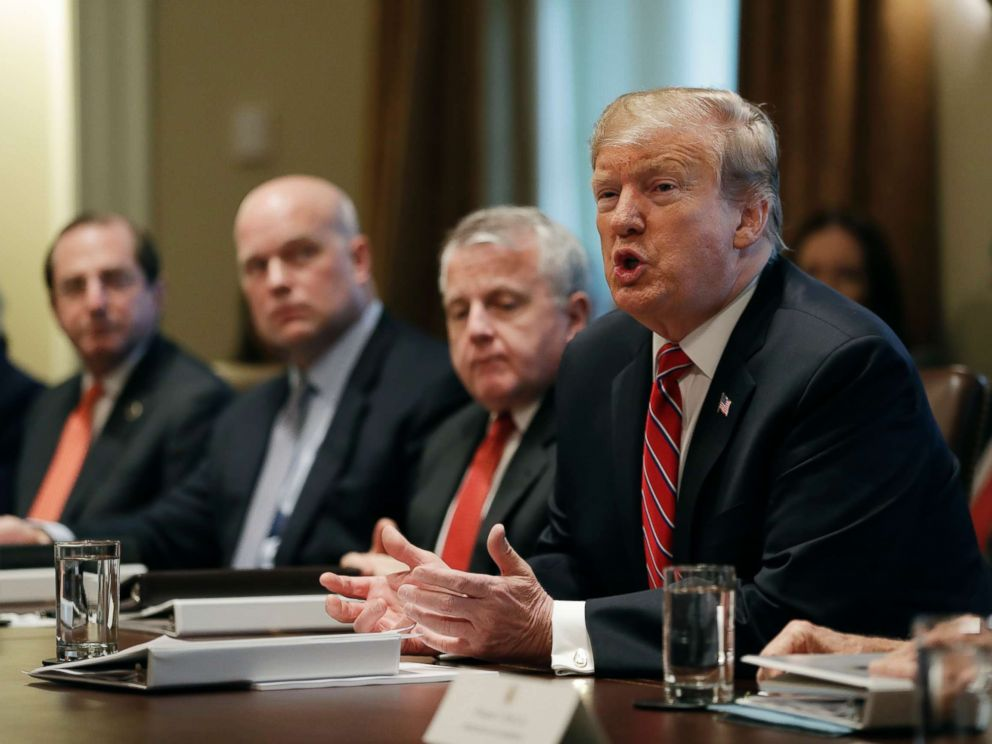PHOTO: President Donald Trump speaks during a cabinet meeting at the White House, Feb. 12, 2019, in Washington.
