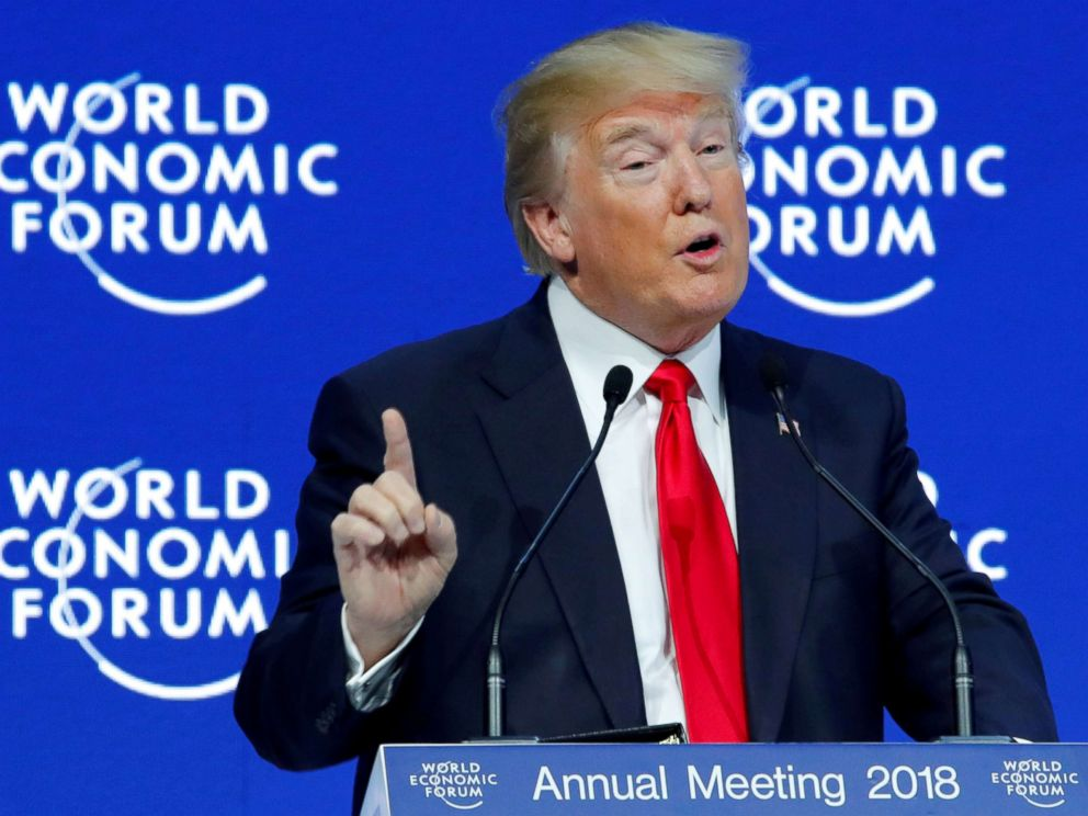 PHOTO: President Donald Trump gestures as he speaks during the World Economic Forum (WEF) annual meeting in Davos, Switzerland, Jan/ 26, 2018.