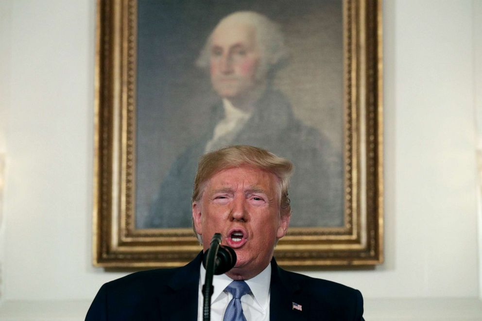 PHOTO: President Donald Trump makes remarks in the Diplomatic Reception Room of the White House, Aug. 5, 2019, in Washington, DC.