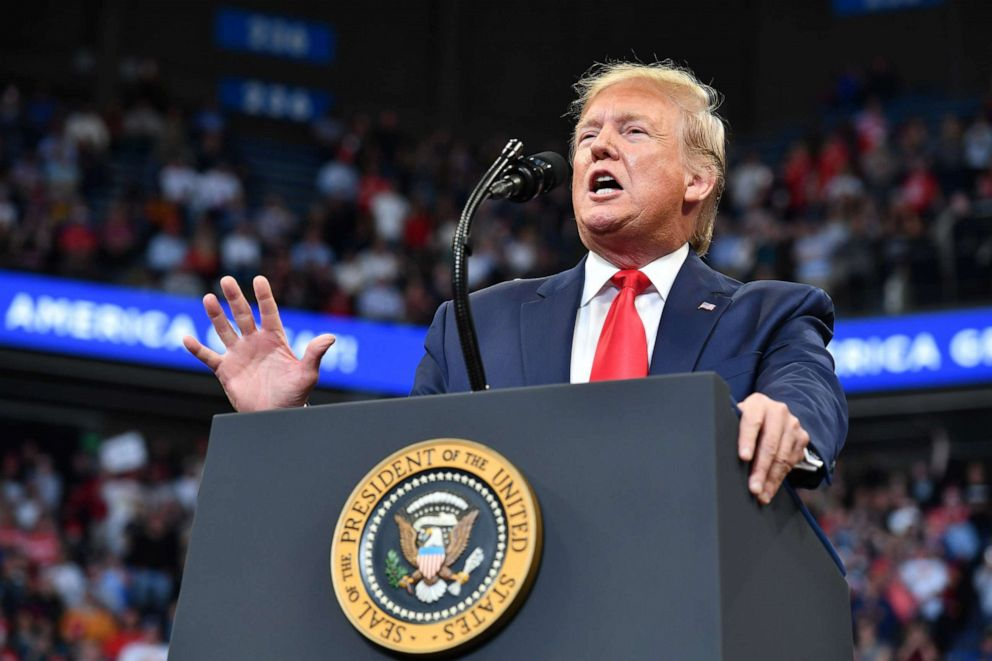 PHOTO: President Donald Trump gestures as he speaks during a rally at Rupp Arena in Lexington, Kentucky, Nov. 4, 2019.