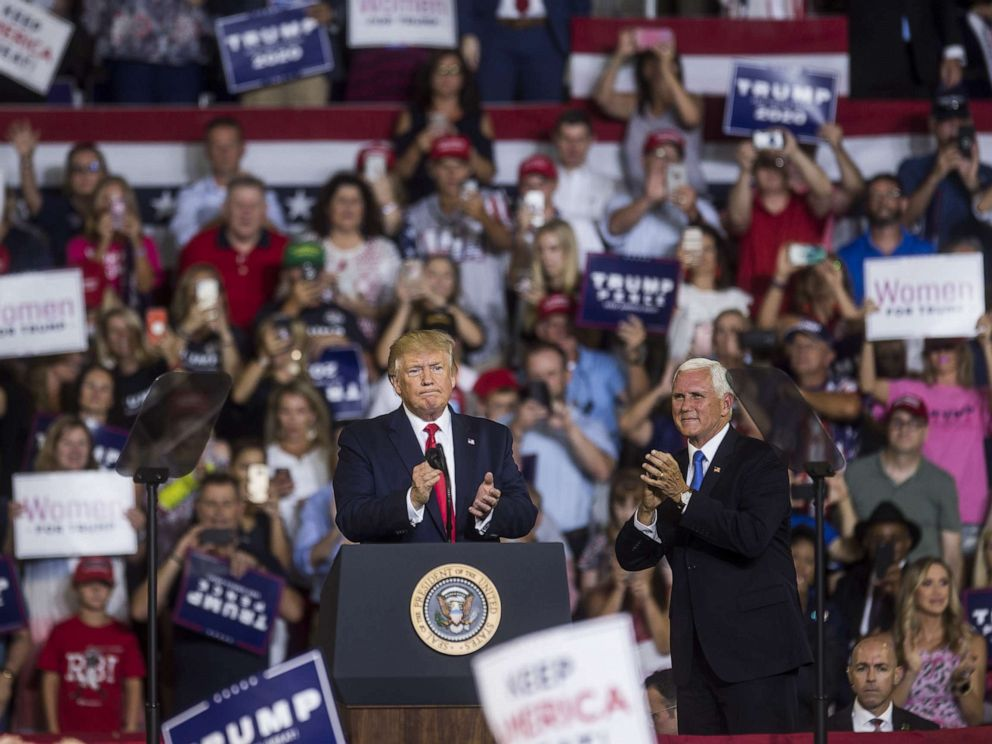 PHOTO: President Donald Trump takes the podium before speaking during a Keep America Great rally, July 17, 2019, in Greenville, North Carolina.