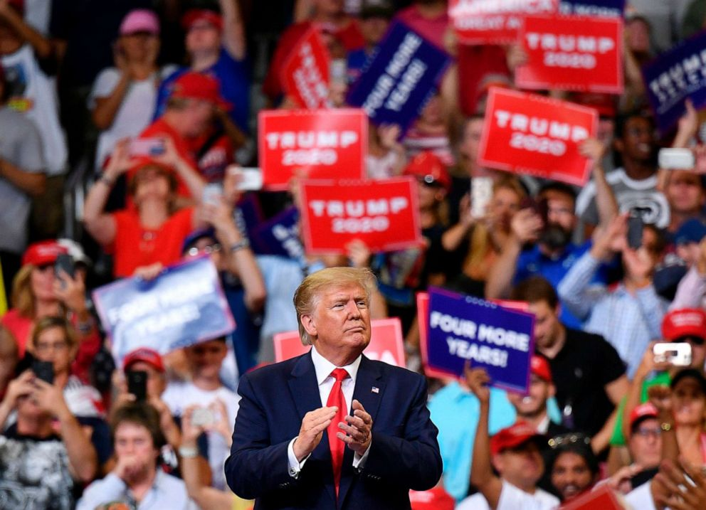 PHOTO: President Donald Trump gestures after a rally at the Amway Center in Orlando, Florida to officially launch his 2020 campaign, June 18, 2019.