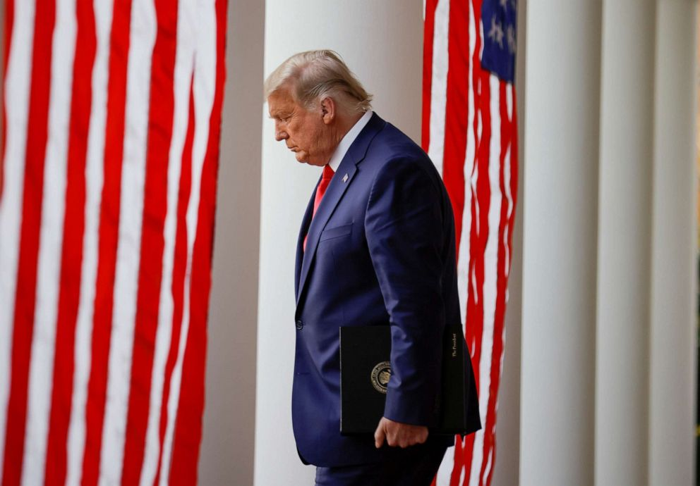 PHOTO: President Donald Trump walks down the West Wing colonnade, Nov. 13, 2020.