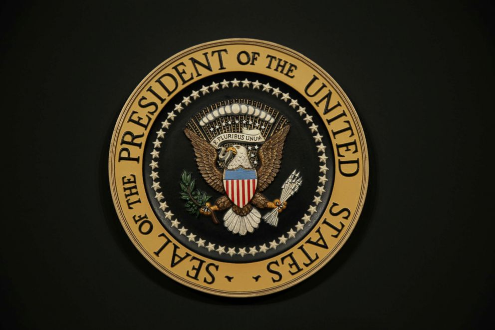 The Presidential Seal on the podium, March 24, 2006, in Washington.