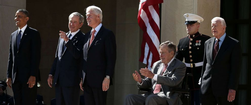 PHOTO: President Barack Obama, former Presidents George W. Bush, Bill Clinton, George H.W. Bush and Jimmy Carter attend the opening ceremony of the George W. Bush Presidential Center, April 25, 2013, in Dallas.