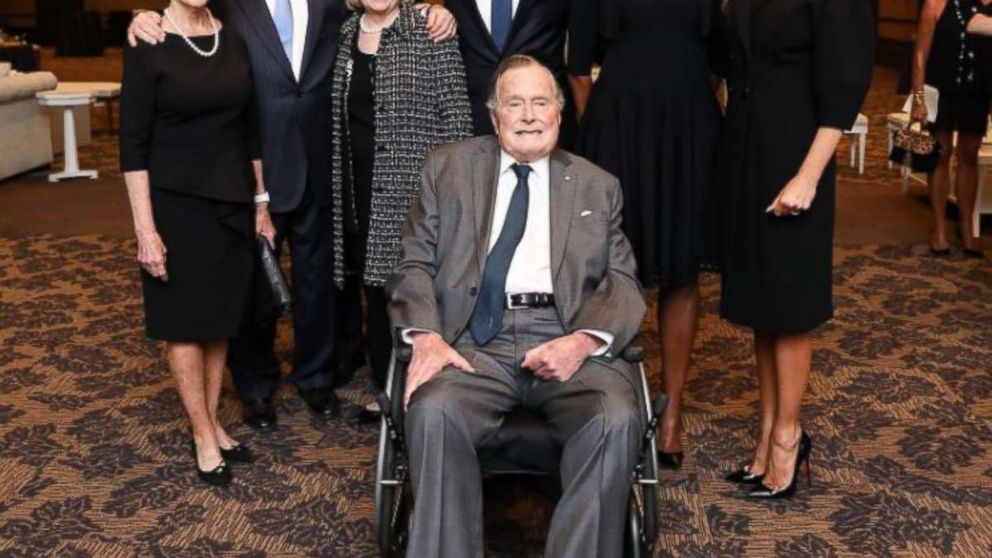 Former Presidents George W. Bush, Bill Clinton and Barack Obama, along with first ladies Laura Bush, Hillary Clinton, Michelle Obama and Melania Trump, pose for a photo with George H.W. Bush at the funeral of Barbara Bush on April 22, 2018.