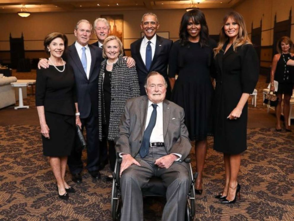 PHOTO: Former Presidents George W. Bush, Bill Clinton and Barack Obama, along with first ladies Laura Bush, Hillary Clinton, Michelle Obama and Melania Trump, pose for a photo with George H.W. Bush at the funeral of Barbara Bush on April 22, 2018.