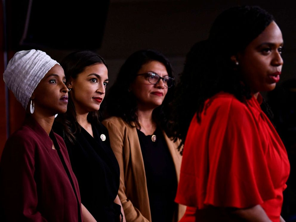 PHOTO: Rep. Ayanna Pressley speaks as, Rep. Ilhan Abdullahi Omar, Rep. Rashida Tlaib and Rep. Alexandria Ocasio-Cortez hold a press conference to address remarks made by President Donald Trump earlier in the day, in Washington, July 15, 2019.