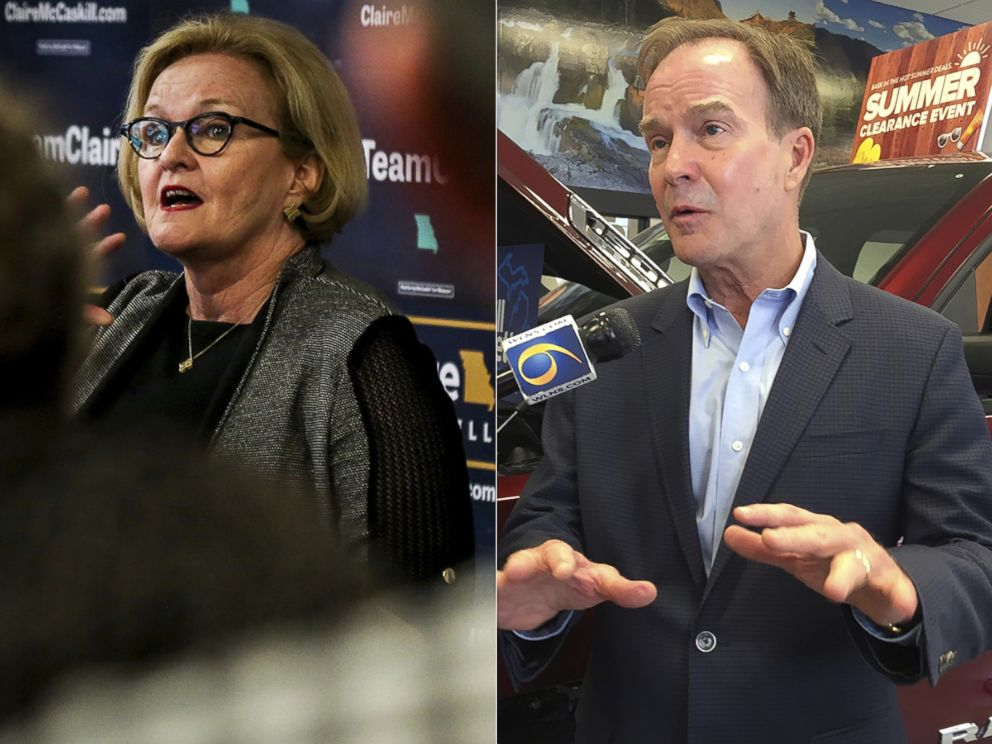 PHOTO: Sen. Claire McCaskill speaks to a group of supporters in Columbia, Mo., Aug. 7, 2018. Michigan Attorney General Bill Schuette, a Republican candidate for governor, speaks during a campaign stop in Lansing, Mich., July 31, 2018.