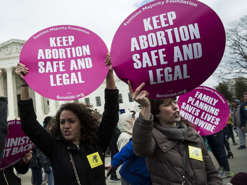 PHOTO: Pro-abortion rights activists try to block anti-abortion rights activists in front of the Supreme Court during the annual March for Life on the anniversary of the historic Roe v. Wade Supreme Court ruling, Jan. 27, 2017.