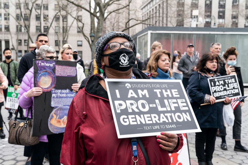 PHOTO: Anti-abortion activists rally on Foley Square in New York on March 25, 2021.