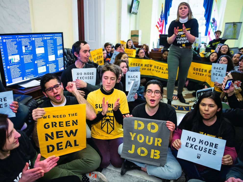 PHOTO: Environmental activists occupy the office of House Democratic Leader Nancy Pelosi of California, as they try to pressure Democratic support for a sweeping agenda to fight climate change, on Capitol Hill, Dec. 10, 2018.