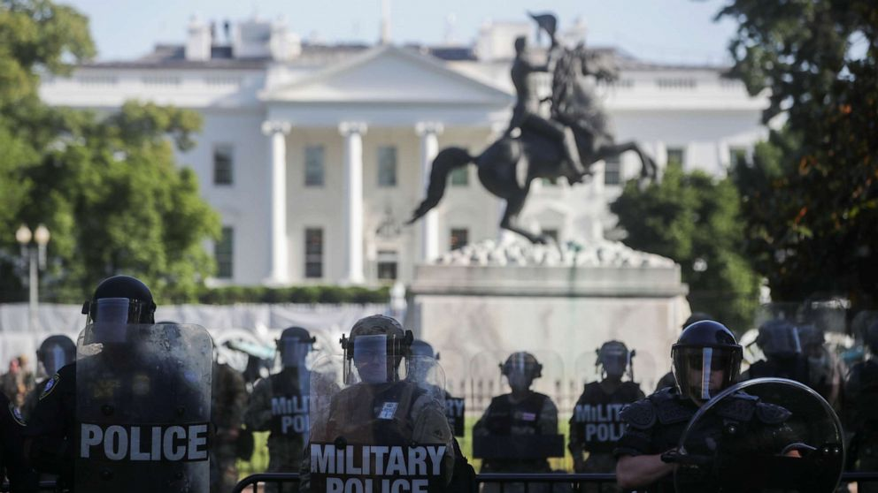 Police use munitions to forcibly push back peaceful protesters for Trump church visit