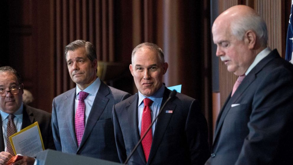 Environmental Protection Agency Administrator Scott Pruitt attends a news conference at the Environmental Protection Agency in Washington D.C., April 3, 2018, on his decision to scrap Obama administration fuel standards.