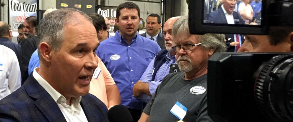 PHOTO: EPA Administrator Scott Pruitt, talks to a reporter after speaking at Whayne Supply in Hazard, Ky., Oct. 9, 2017.
