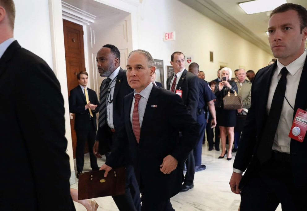 PHOTO: Environmental Protection Agency Administrator Scott Pruitt arrives to the House Energy and Commerce subcommittee hearing on Capitol Hill in Washington, April 26, 2018.