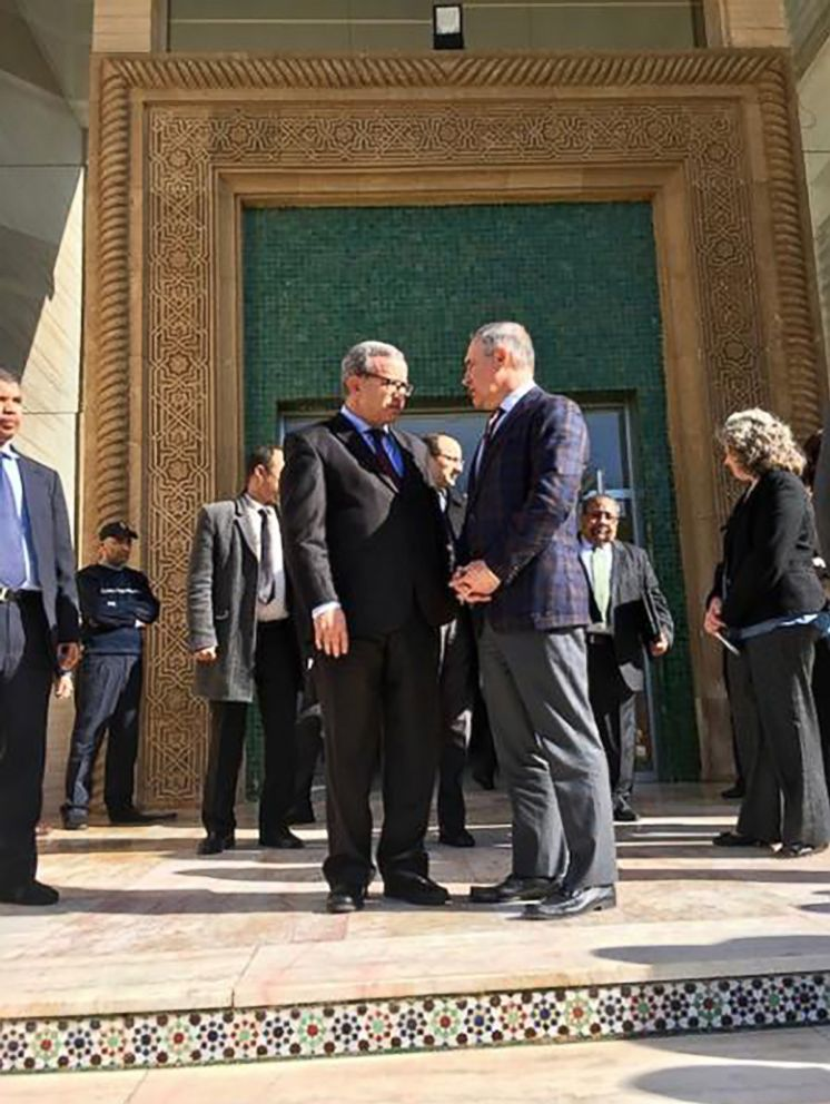 PHOTO: EPA Administrator Scott Pruitt, center right, talks with Moroccan Secretary of State of Ministry of Foreign Affairs, Mounia Boucetta, during a trip to Morocco in December of 2017.