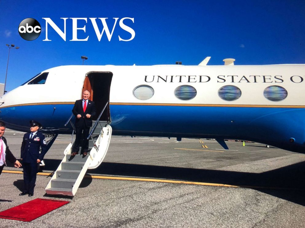 PHOTO: A photo obtained by ABC News shows EPA Administrator Scott Pruitt deplaning a military-owned plane in June 2017 at New Yorks John F. Kennedy International Airport.