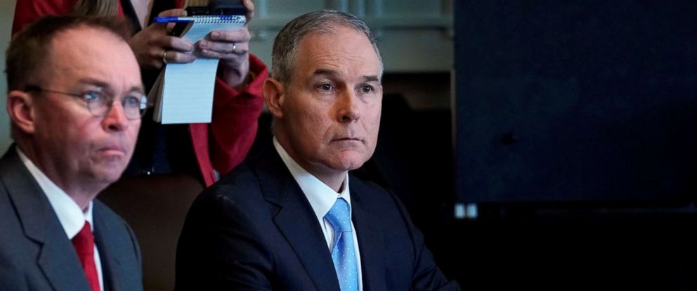 PHOTO: Environmental Protection Agency administrator Scott Pruitt listens as President Donald Trump holds a cabinet meeting at the White House, April 9, 2018.