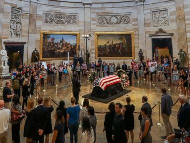 PHOTO: The flag-draped casket of late Senator John McCain, R-Ariz., lies in state in the Rotunda of the Capitol in Washington, Aug. 31, 2018.