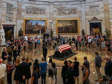 PHOTO: The flag-draped casket of late Senator John McCain, R-Ariz., lies in state in the Rotunda of the Capitol in Washington, Aug. 31, 2018.