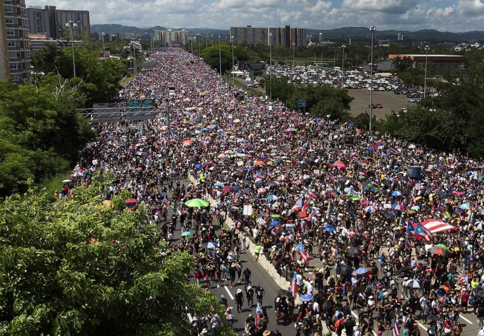 PHOTO: An aerial view from a drone shows thousands of people as they fill the Expreso Las Americas highway calling for the ouster of Gov. Ricardo A. Rossello on July 22, 2019 in San Juan, Puerto Rico.