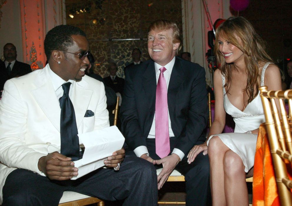 PHOTO: Sean P. Diddy Combs, Donald Trump and Melania Trump in Palm Beach, Fla.