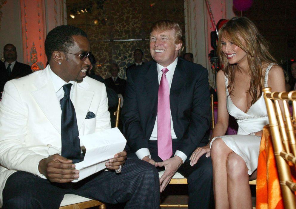 Sean P. Diddy Combs, Donald Trump and Melania Trump in Palm Beach, Fla.