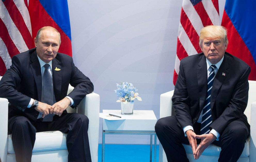 PHOTO: President Donald Trump, right, and Russian President Vladimir Putin pose for a photo during the G20 summit in Hamburg Germany, July 7, 2017.