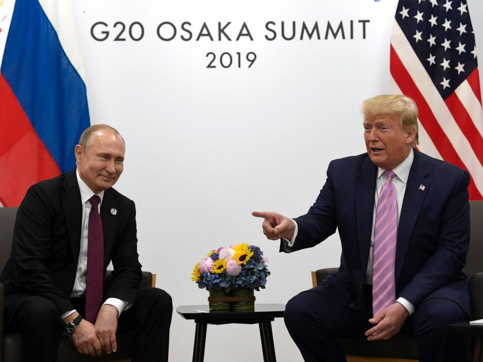 PHOTO: President Donald Trump, right, meets with Russian President Vladimir Putin during a bilateral meeting on the sidelines of the G-20 summit in Osaka, Japan, Friday, June 28, 2019.
