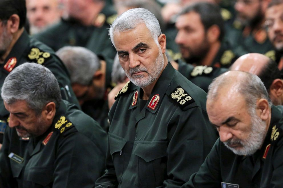 PHOTO: In this Sept. 18, 2016, Revolutionary Guard Gen. Qassem Soleimani, center, attends a meeting with Supreme Leader Ayatollah Ali Khamenei and Revolutionary Guard commanders in Tehran, Iran.