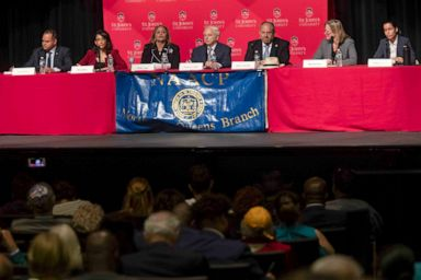 PHOTO: Queens District Attorney candidates from left, Jose Nieves, Mina Malik, Betty Lugo, Gregory Lasak, Rory Lancman, Melinda Katz, and Tiffany Caban participate in a candidates forum at St. Johns University in New York, June 13, 2019.