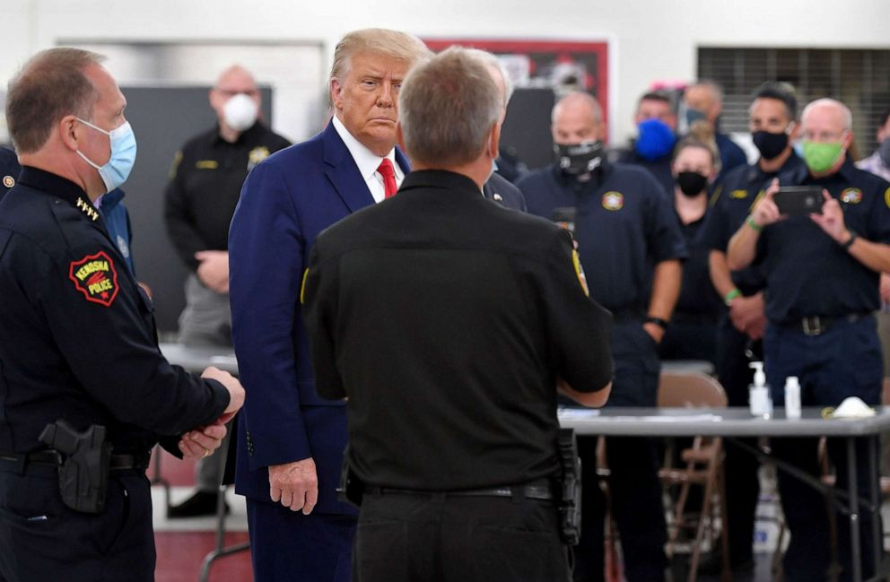 PHOTO: President Donald Trump meets with law enforcement officials in Kenosha, Wis.,Sept. 1, 2020.
