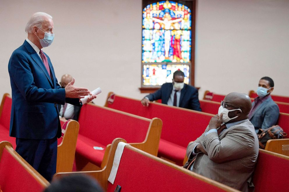 PHOTO: Democratic presidential candidate Joe Biden meets with clergy members and community activists during a visit to Bethel AME Church in Wilmington, Del., JUNE 1, 2020.