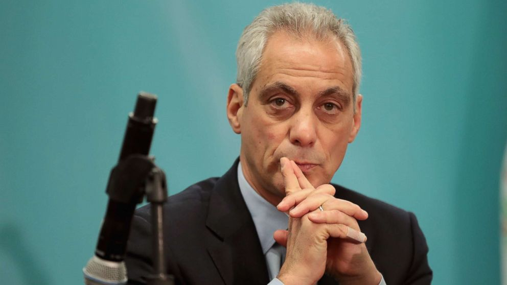 Chicago Mayor Rahm Emanuel speaks to the press during the North American Climate Summit on Dec. 5, 2017 in Chicago.