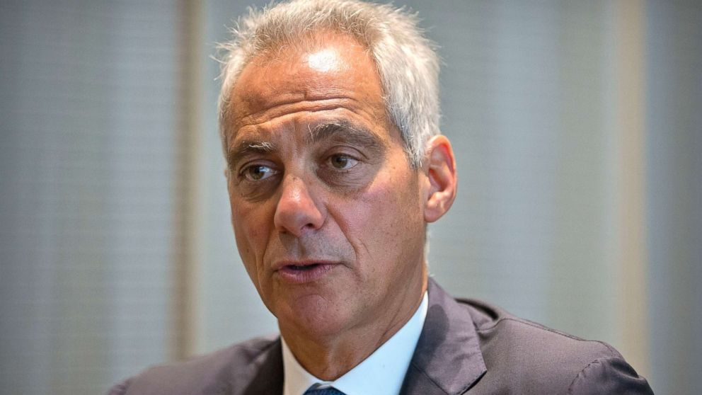 Chicago Mayor Rahm Emanuel speaks during an interview with the Associated Press in Beijing, July 12, 2018.