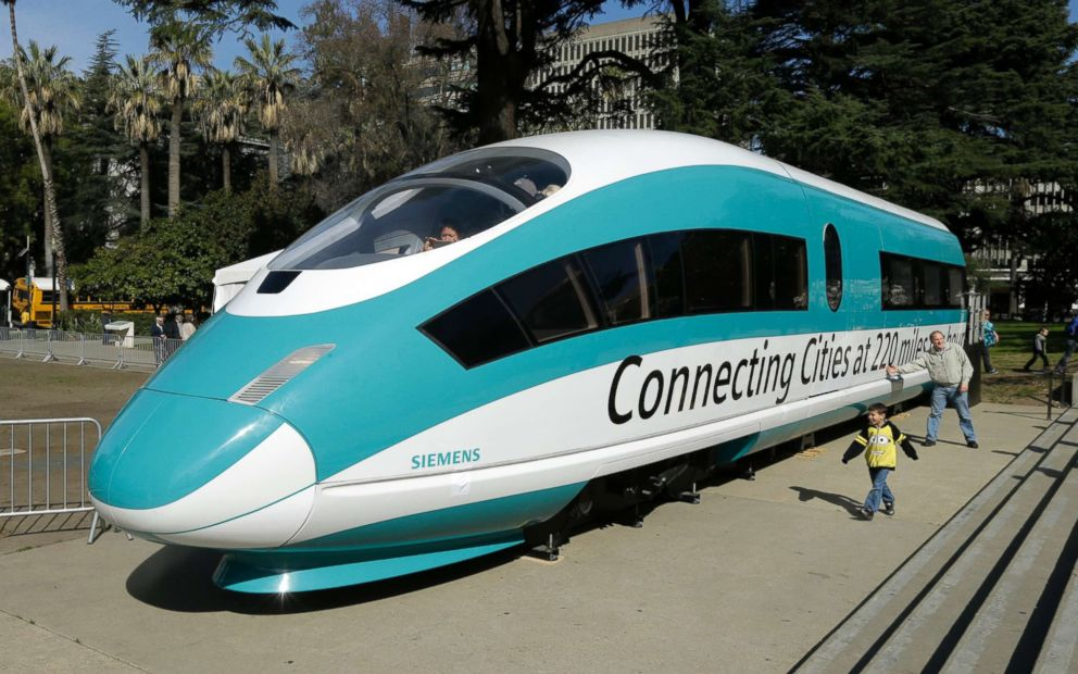 PHOTO: A full-scale mock-up of a high-speed train, displayed at the California State Capitol in Sacramento, Calif., Feb. 26, 2015.