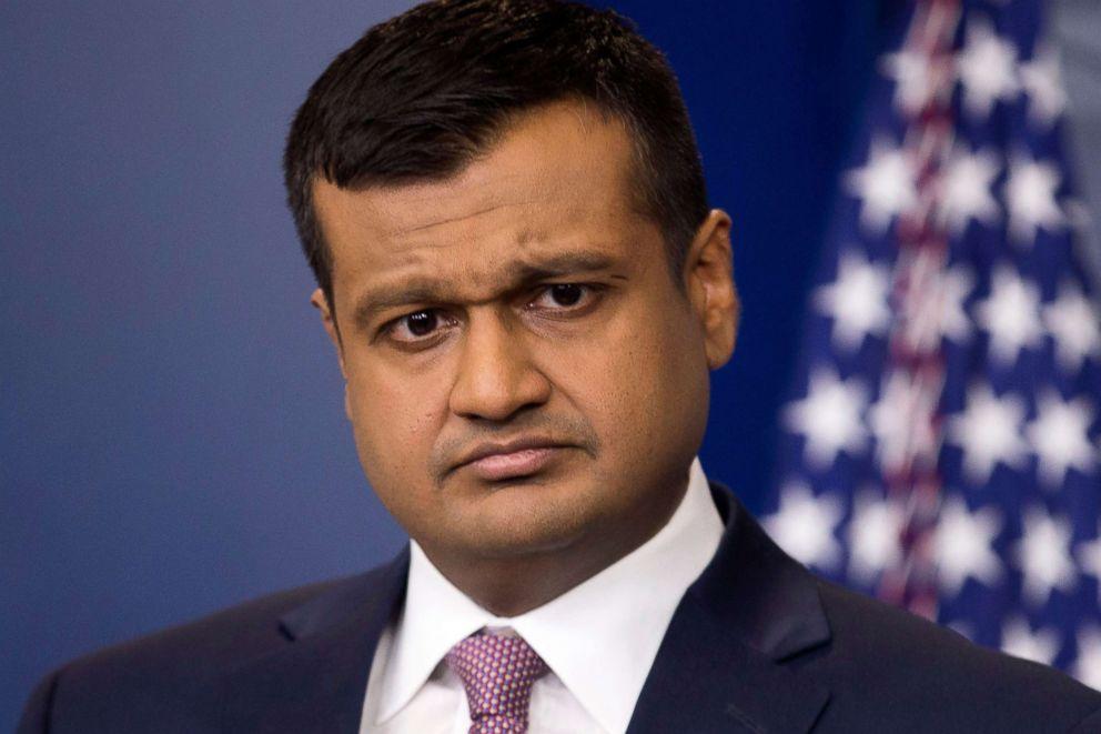 PHOTO: Principal Deputy Press Secretary Raj Shah holds a news conference at the White House in Washington, D.C., Feb. 8, 2018.