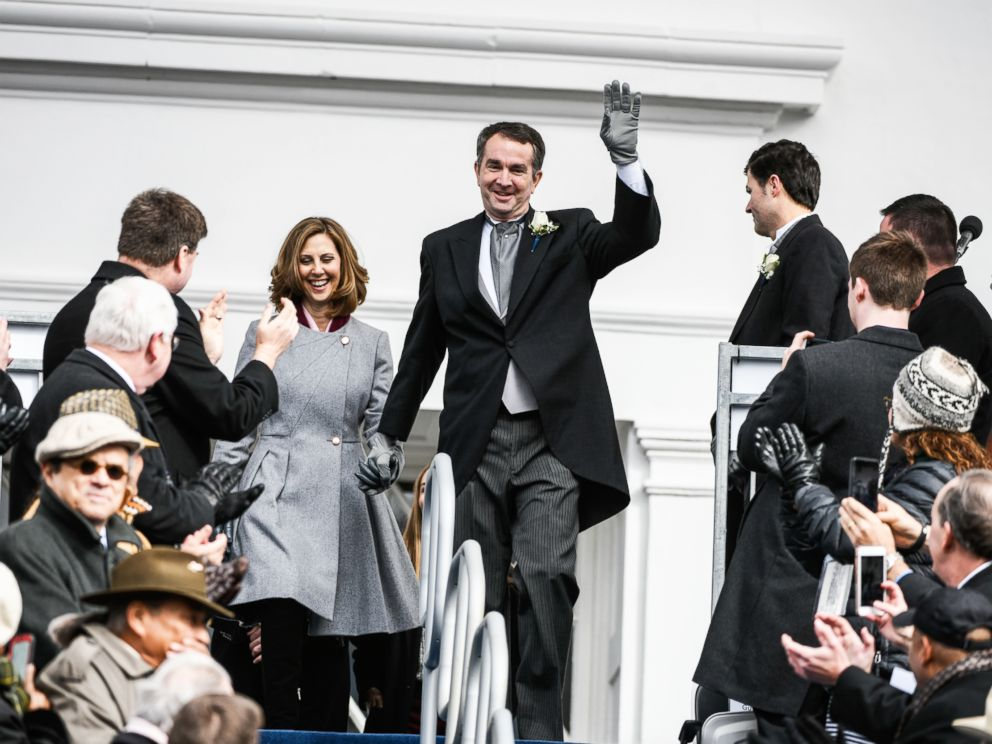 PHOTO: Gov. Elect Ralph Northam and his wife, Pam Northam make their way to the inaugural platform before taking the oath of the office on Jan. 13, 2018, at the Virginia State Capitol in Richmond, VA.