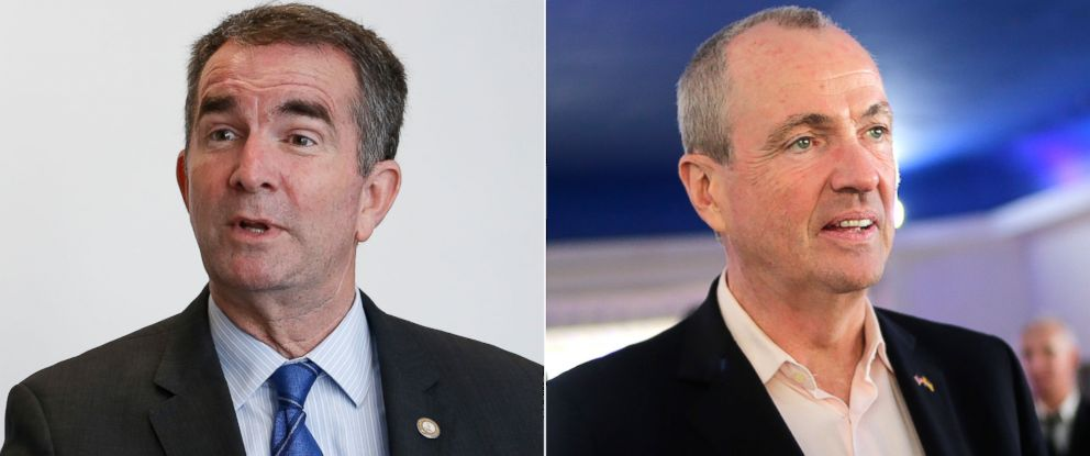 PHOTO: Democratic gubernatorial candidate, Lt. Gov. Ralph Northam, Sept. 18, 2017. | Democratic gubernatorial candidate Phil Murphy, Monday, Nov. 6, 2017.