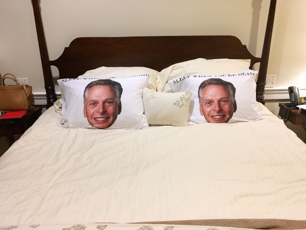 PHOTO: This image provided by the office of Governor of Virginia shows a photo of two pillowcases with a portrait of former gov. Terry McAuliffe on the bed at the Governors mansion at the Capitol in Richmond, Va., Dec. 13, 2018.