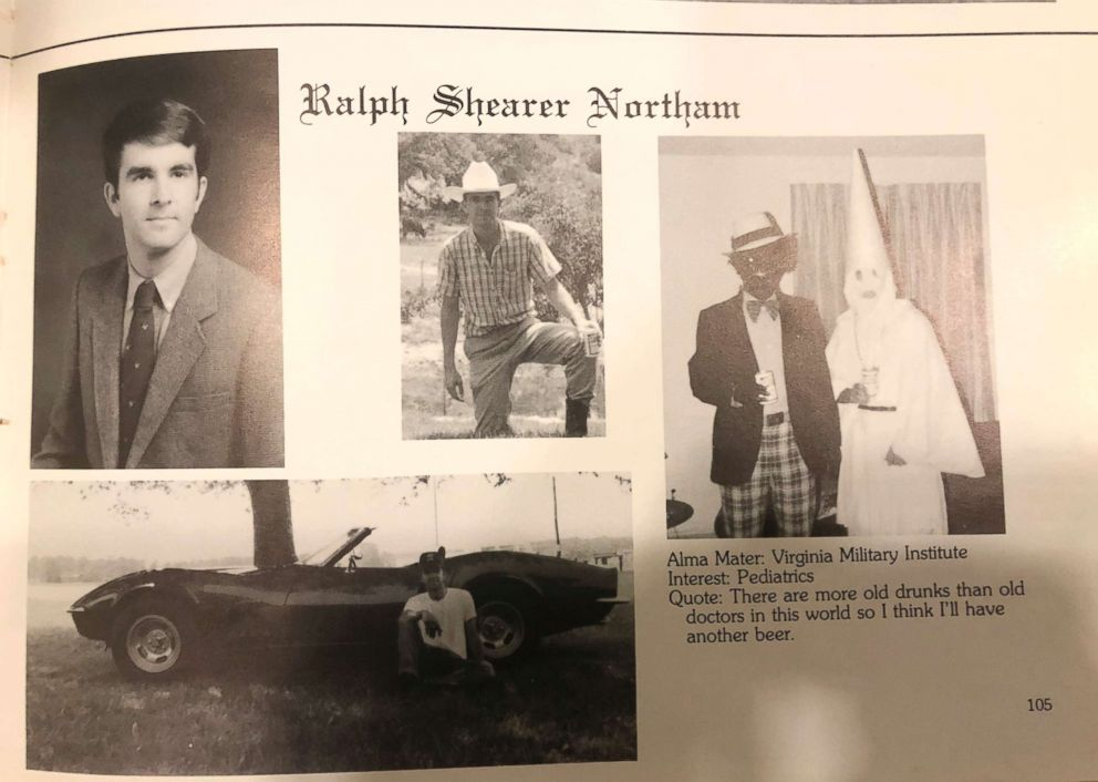 PHOTO: This image shows Virginia Gov. Ralph Northams page in his 1984 Eastern Virginia Medical School yearbook. The page shows a picture of a person in blackface and another wearing a Ku Klux Klan hood next to different pictures of the governor.