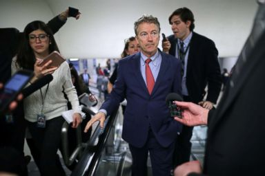 PHOTO: Sen. Rand Paul (R-KY) talks to reporters as he heads to the Capitol for the weekly Republican policy luncheon, March 5, 2019, in Washington, D.C.
