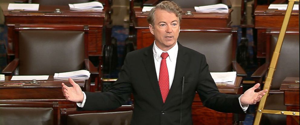 PHOTO: In this image captured from video from Senate Television, Sen. Rand Paul, R-Ky., speaks on the floor of the Senate on Feb. 8, 2018, on Capitol Hill.